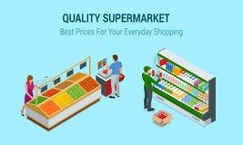 Женщины и овощи и плодоовощи покупок человека в супермаркете Люди в дизайне интерьера супермаркета самый лучший выбор свеже бесплатная иллюстрация