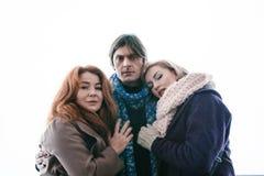 2 женщины и человек День, внешний Стоковое фото RF