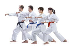 2 женщины и 2 люд в karategi тренируют изолированную руку пунша Стоковое Изображение