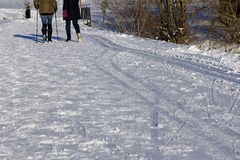 2 женщины идя в зиму Стоковая Фотография RF