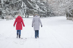 2 женщины идя на пустую, снежную улицу в Днепр, Украину на 3-ье декабря 2016 Стоковые Изображения RF