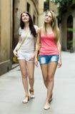 2 женщины идя через старый европейский город Стоковые Изображения RF