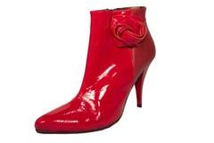 женщины красного цвета ботинка лодыжки Стоковое Фото
