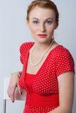 женщины красного цвета портрета Стоковые Фотографии RF