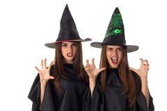 Женщины красоты в стиле хеллоуина Стоковые Изображения