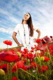 женщины мака поля ся стоковое фото rf