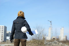 женщины места трудного шлема конструкции архитектора Стоковая Фотография RF
