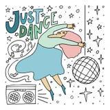 Женщины нарисованные рукой танцуя Иллюстрация стиля Doodle иллюстрация штока