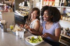 2 женщины наслаждаясь датой обеда в ресторане деликатеса Стоковые Фотографии RF