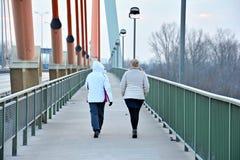 2 женщины на мосте Стоковые Изображения RF