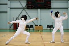 Женщины на ограждая тренировке Стоковое фото RF