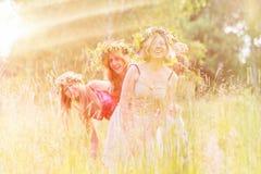 4 женщины на луге с яростями Стоковая Фотография RF