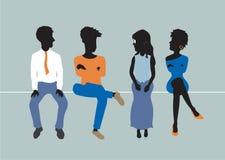 женщины неба людей голубой семьи предпосылки счастливые иллюстрация штока