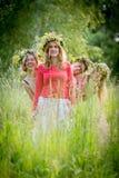 4 женщины нося венки Стоковое фото RF