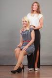 2 женщины нося модные платья Стоковая Фотография RF