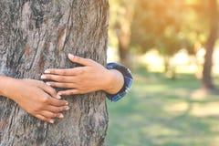 Женщины обнимают большой цвет дерева фокуса тона битника селективного мягкого Стоковая Фотография RF