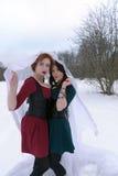 2 женщины обнимают в лесе Стоковое Фото