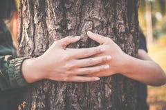 Женщины обнимая большой цвет дерева битника тонизируют селективный мягкий фокус Стоковое Изображение