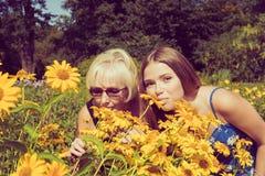 2 женщины обнюхивая Heliopsis цветков в саде Тонизированное фото Стоковое Изображение