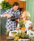 Женщины ослабляя дома и выпивая чай Стоковые Изображения RF