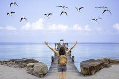 Женщины поднимают их рюкзак оружий и плеча на шлюпке пристани деревянного моста в море и птицах летая в небо на Koh Kood, стоковое фото rf