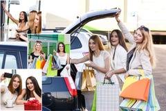 Женщины после ходить по магазинам Стоковые Изображения