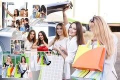 Женщины после ходить по магазинам Стоковая Фотография RF