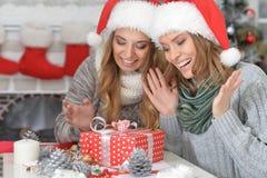 2 женщины празднуя рождество Стоковое Изображение