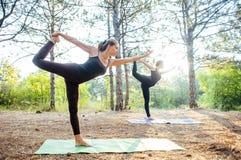 2 женщины практикуя йогу в древесине Стоковая Фотография RF