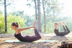 2 женщины практикуя йогу в древесине Стоковое Изображение