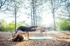 2 женщины практикуя йогу в древесине Стоковые Фотографии RF