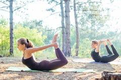 2 женщины практикуя йогу в древесине Стоковое Фото