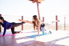 Женщины практикуя некоторую йогу на классе Стоковое Изображение