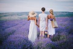 3 женщины представляя в поле лаванды Стоковое Изображение