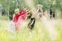 4 женщины при венки имея потеху Стоковое Фото