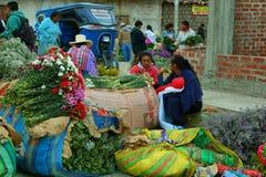 Женщины продавая цветок в Caraz, Перу Стоковая Фотография RF