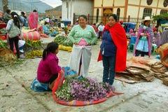 Женщины продавая цветок в Caraz, Перу Стоковое Фото