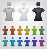 Женщины пустой шаблон футболки и крышки иллюстрация вектора