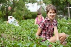 Женщины работая в ее саде стоковая фотография