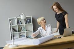 Женщины работая в офисе Стоковая Фотография