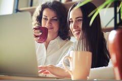 2 женщины работая на компьтер-книжке совместно Стоковые Фотографии RF