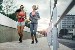 2 женщины работая путем jogging Стоковые Изображения RF