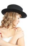 женщины роскошного портрета платья белые Стоковые Фото