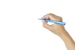 Женщины руки с изолятом сочинительства ручки на белой предпосылке Стоковое Изображение RF