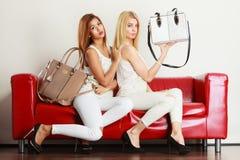 2 женщины сидя на софе представляя сумки Стоковое Изображение RF