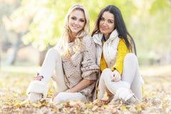 Женщины сидя в парке осени Стоковые Фотографии RF