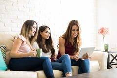 Женщины смотря используя социальные средства массовой информации Стоковая Фотография