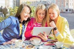 Женщины смотря таблетку Стоковое Изображение
