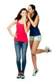 2 женщины стойки детенышей шепчут друг к другу Стоковые Изображения RF