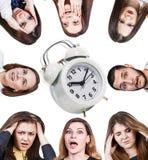 Женщины с головной болью и будильником Стоковое Изображение RF
